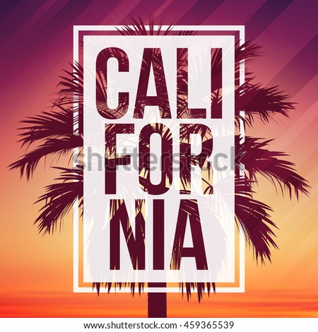 California background with palm and frame. Vector background for banner, poster, flyer, card, postcard, cover, brochure.
