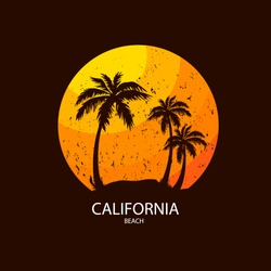 California beach Slogan summer surf and Palm style. Design for t-shirt print