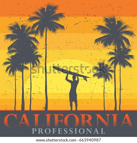 california beach  surfer poster