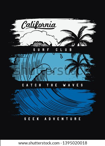 California beach text with waves and Palm trees vector illustrations. For t-shirt prints and other uses.