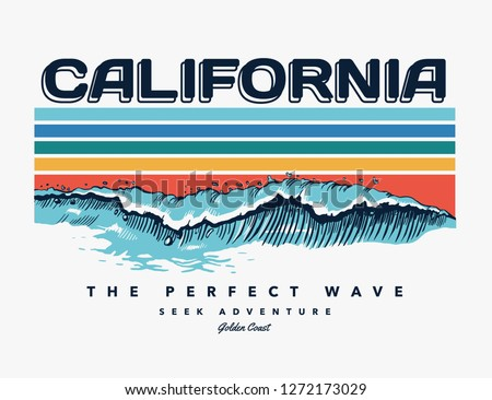 California beach text with waves and sun vector illustrations. For t-shirt prints and other uses.