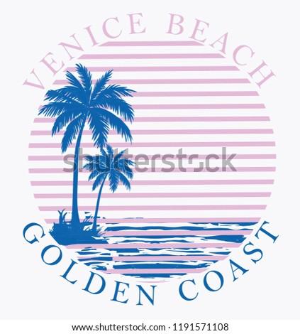 California beach typography, t-shirt graphics, vectors