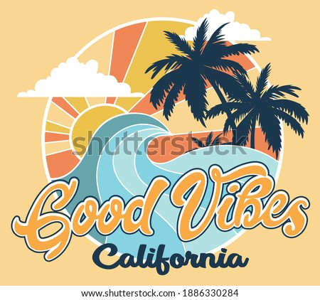 California coast surf vector illustration with Good Vibes Text for t shirt prints.