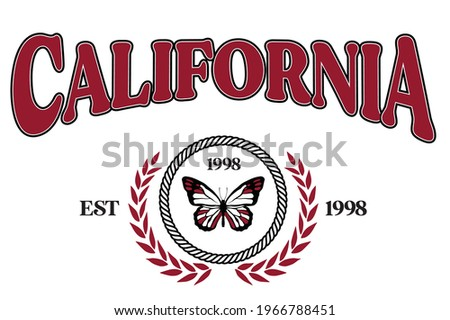 California college with butterfly and typography for t-shirt. California slogan tee shirt, sport apparel print. NY vintage graphics. Vector illustration.