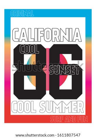 california cool sunset, cool summer,t-shirt design fashion vector