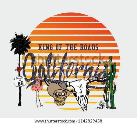 California Cowboy graphic design vector art
