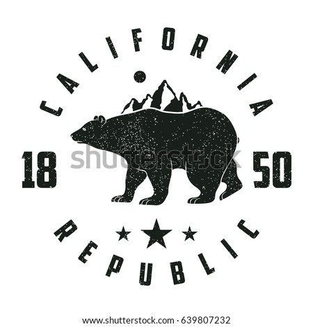 California grunge print with bear and mountains. Vintage graphic for design clothes, t-shirt, apparel. Vector illustration.