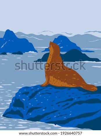 California Harbor Seal on Rock Outcroppings in California Coastal National Monument Along the Coast of California WPA Poster Art