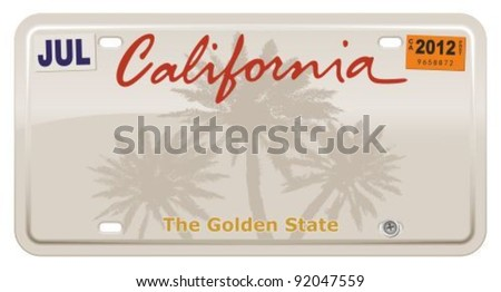 California license plate.