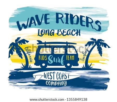 California Long beach kids surfing team vector print for children shirt beach and summer wear