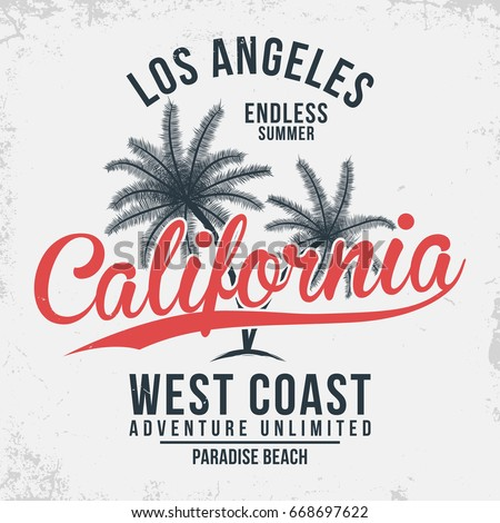 California, Los Angeles typography. T-shirt graphics with tropic palms. Vector