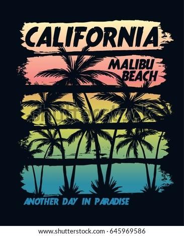 california malibu beach vector