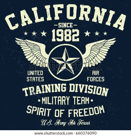 California military team, training division, air forces, camouflage typography, t-shirt graphics, vectors