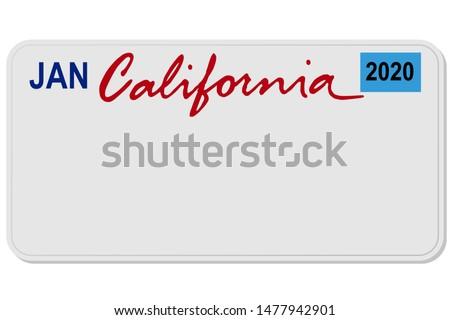 california new car digital registration plate vector illustration ストックフォト ©