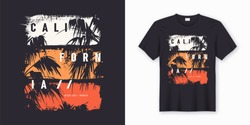 California Ocean side stylish t-shirt and apparel trendy design with palm trees silhouettes, typography, print, vector illustration. Global swatches.