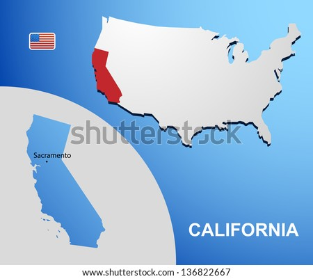 California on USA map with map of the state - stock vector