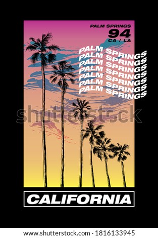 California Palm Springs illustration colorful poster  with hand drawn palms