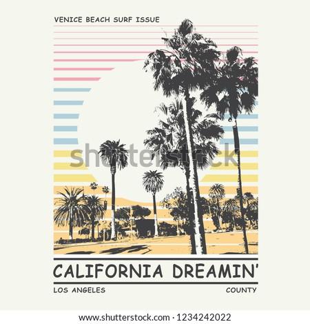 California palm tree  typography, tee shirt graphics, vectors