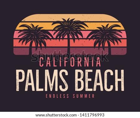 California Palms Beach Graphic for T-Shirt, prints. Vintage hand drawn 90s style emblem. Retro summer travel scene, unusual badge. Surfing Adventure Label. Stock vector.