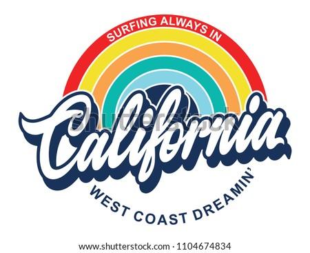 california rainbow retro print dedign