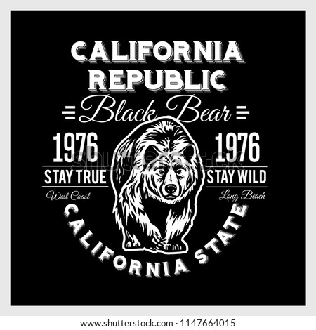 California Republic vintage typography with a grizzly Bear, t-shirt print graphics on black background