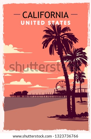 california retro poster usa