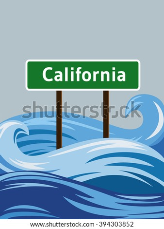 california road sign sinking in