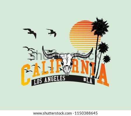 California skull graphic design vector art