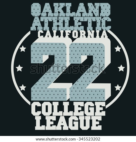California sport T-shirt  design. College Typography Graphics. Vector