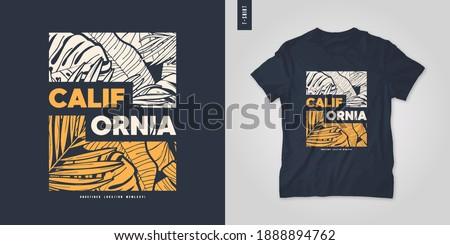 California summer graphic t-shirt design, tropical print, vector illustration.