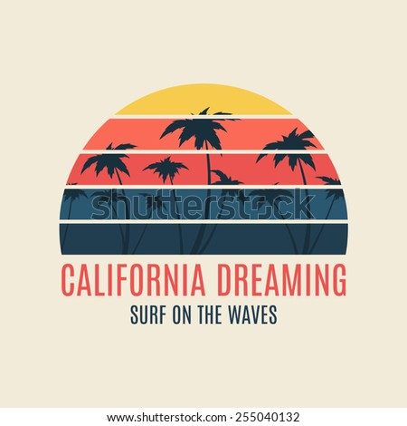 California surf illustration typography. Vector graphics of t-shirts.