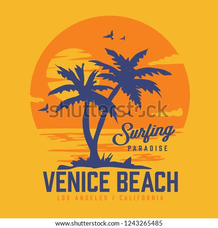California surf palm tree typography, tee shirt graphics, vectors