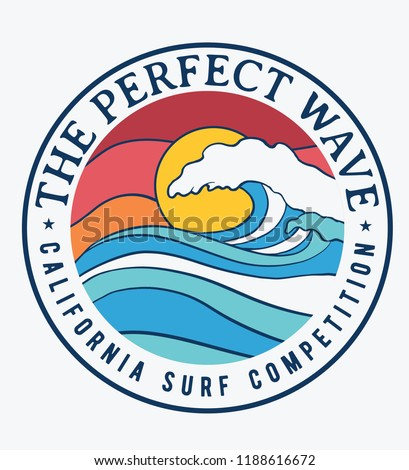California surf theme text with waves and and sun vector illustrations. For t-shirt prints and other uses.