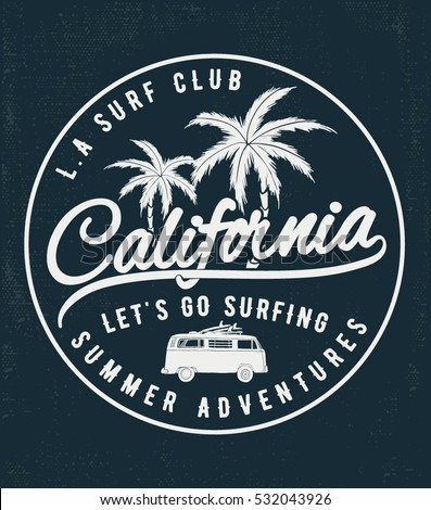 California Surf typography for t-shirt print , vector illustration