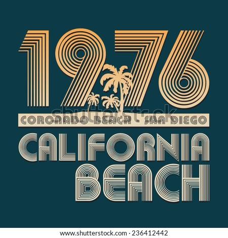 California surf typography, t-shirt graphics
