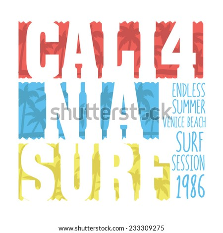 California surf typography t-shirt graphics vectors