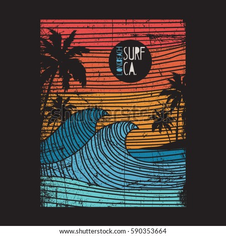 california surf typography  tee