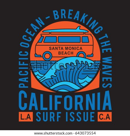 California surf typography, van illustration, tee shirt graphics, vectors