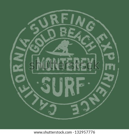 California surfing company- Vector artwork for t-shirt in custom colors
