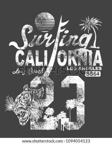california surfing graphic design vector art