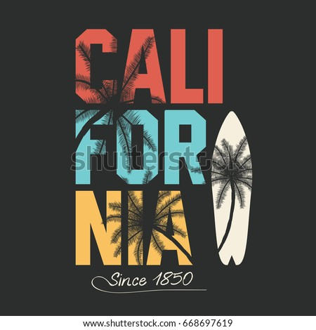 California, surfing typography. T-shirt graphics with tropic palms. Vector