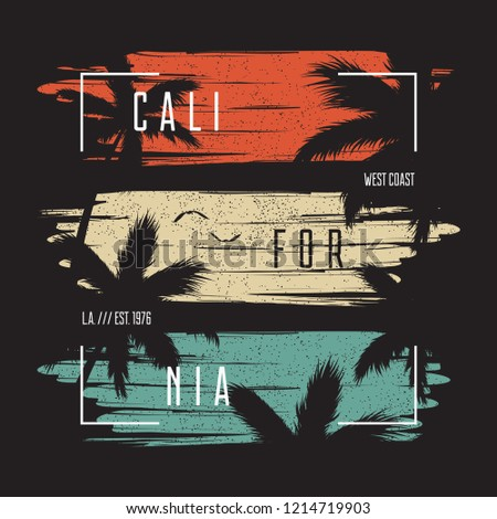 California t-shirt typography with color grunge background and palm trees silhouettes. Trendy apparel design. Vector ollustration.