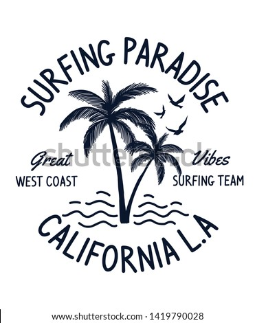 California text with palm trees  vector illustrations. For t-shirt prints and other uses.