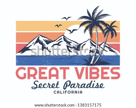 California theme vector illustration with Palm trees, birds and the mountain illustrations, for t-shirt print and other uses.