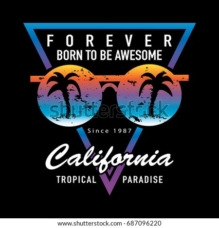 528102d6aaab California typography and sunglasses with palm trees design for t shirt  prints   Vector illustration