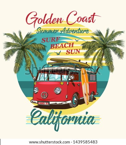 California typography for t-shirt print with surf,beach and retro bus.Vintage poster.