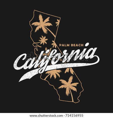 California typography graphics for t-shirt, clothes. Grunge print for apparel with palm trees and map. Vector illustration.