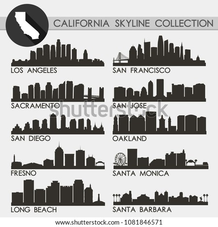 California USA Skyline Silhouette Icon Flat Vector Design Collection Set