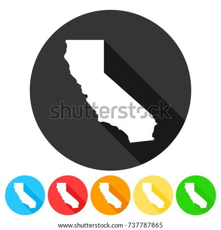 California USA Symbol Icon Round Flat Vector Art Design Color Set