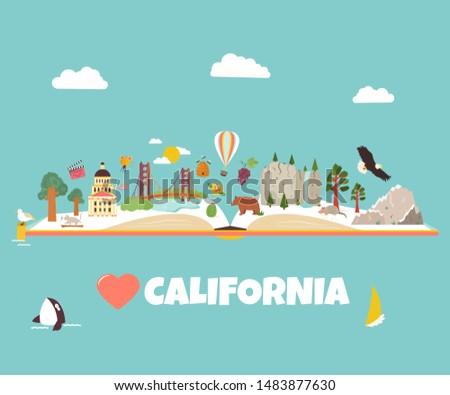california vector illustrated